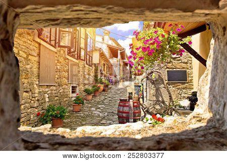 Town Of Hum Colorful Old Stone Street View Through Stone Window, Istria Region Of Croatia