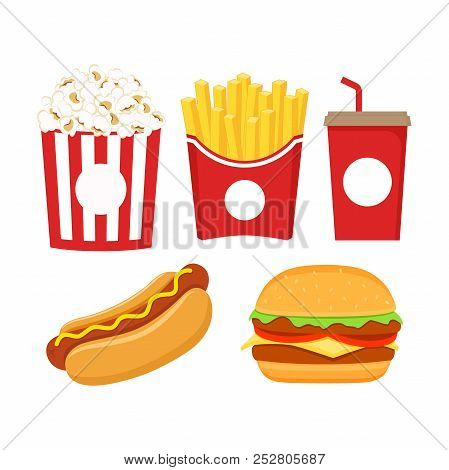 Fast Food Icons Set Vector Photo Free Trial Bigstock