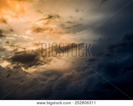 austria, hörsching. dark clouds after a thunderstorm at hi