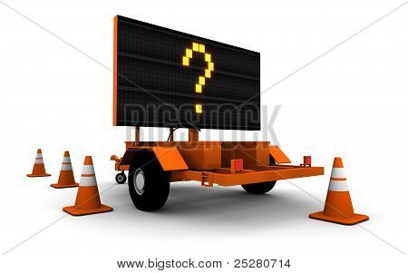 Question Mark On Road Work Sign (large)