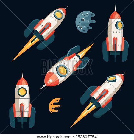 Space Rocket In 3d Cartoon Style - Set From Several Angles