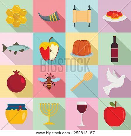 Rosh Hashanah Jewish Holiday Torah Icons Set. Flat Illustration Of 16 Rosh Hashanah Jewish Holiday T