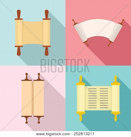 Torah Scroll Book Bible Shavuot Icons Set. Flat Illustration Of 4 Torah Scroll Book Bible Shavuot Ve