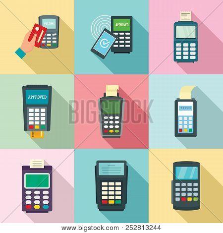 Bank Terminal Card Credit Machine Icons Set. Flat Illustration Of 9 Bank Terminal Card Credit Machin