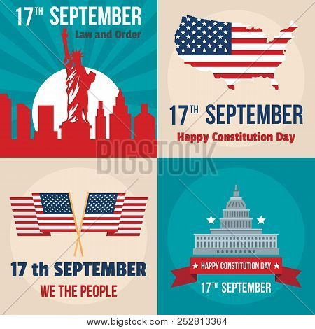 Constitution Day Usa President Patriotic America Flag Banner Concept Set. Flat Illustration Of 4 Con