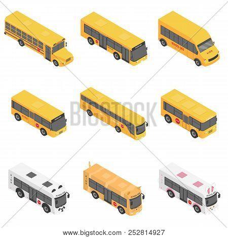 School Bus Back Kids Icons Set. Isometric Illustration Of 9 School Bus Back Kids Vector Icons For We