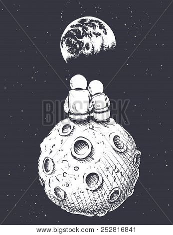 Happy Astronaut Girl And Boy Looks To Earth From Moon.love In Space.romantic Vector Illustration
