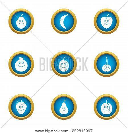 Fruit Face Icons Set. Flat Set Of 9 Fruit Face Vector Icons For Web Isolated On White Background
