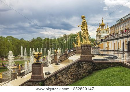 Saint Petersburg, Russia - May 16, 2018: Skyline At Lower Garden And Grand Cascade Fountain Of Peter