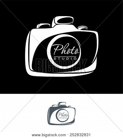 Camera, A Monochrome Image Of Their Flowery Lines Drawn. Logo, Sign, Icon, Symbol, Emblem. For A Pho