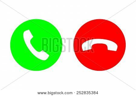 Phone Call Vector Flat Icon Set With Green Call Out Or Answer Button And Red Hang Up Or Decline Butt