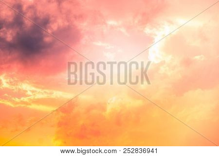 Cloud Sky In Sunset Time Is Beautiful Cloudscape.look Like Heaven And View Red Fluffy Clouds Of  Glo