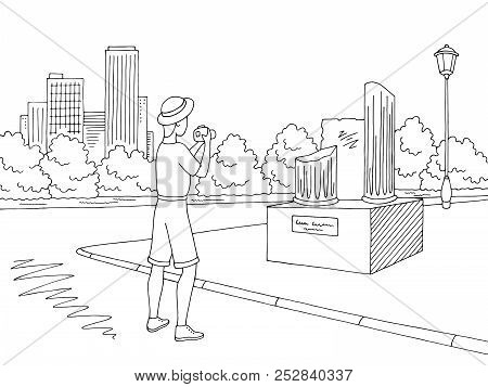 Tourist Takes Photo Monument Ruins. Street Road Graphic Black White City Landscape Sketch Illustrati