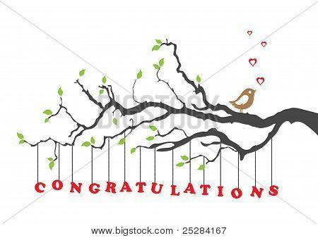 Congratulations Card With Bird.eps
