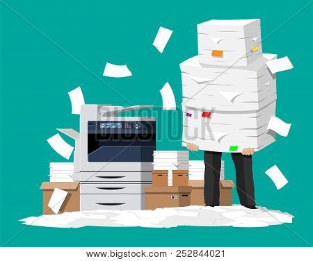 Businessman In Pile Of Papers. Office Multifunction Machine. Bureaucracy, Paperwork, Overwork, Offic