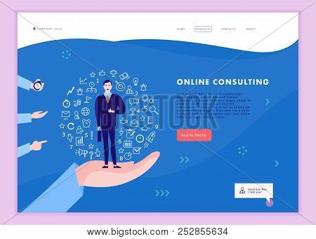 Vector Web Page Template For Time Management Project, Business Communication, Consulting, Planning.