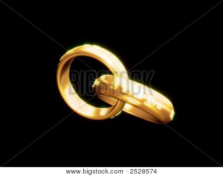 Wedding Rings With I Love You Text