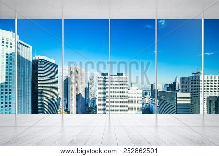 Empty Marble Floor And Window With Panoramic City Skyline Of Tokyo, Japan For Mock Up