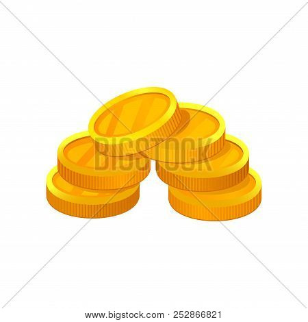 Small Pile Of Golden Coins. Economy And Finance Theme. Flat Vector Element For Mobile App Or Adverti