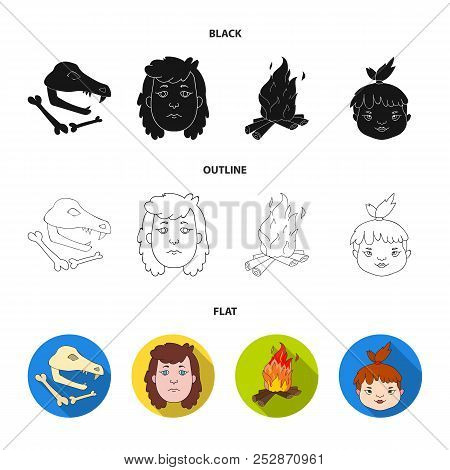 Woman, Hair, Face, Bonfire .stone Age Set Collection Icons In Black, Flat, Outline Style Vector Symb