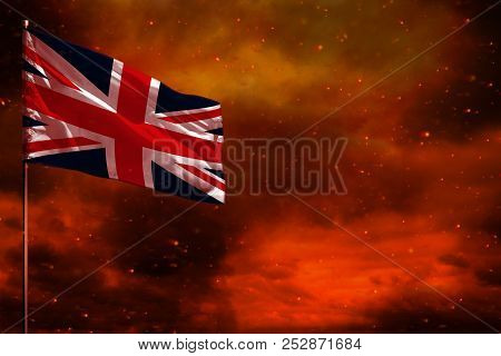 Fluttering United Kingdom (uk) Flag Mockup With Blank Space For Your Data On Crimson Red Sky With Sm