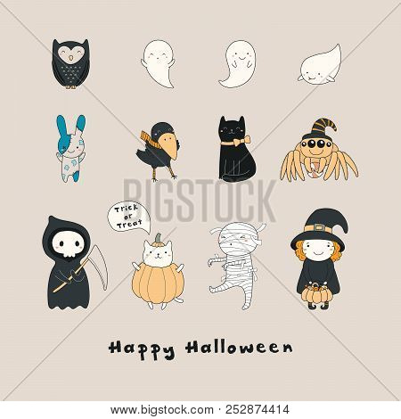 Set Of Kawaii Funny Halloween Characters, With Ghosts, Cats, Zombie Bunny, Witch, Death, Mummy, Spid