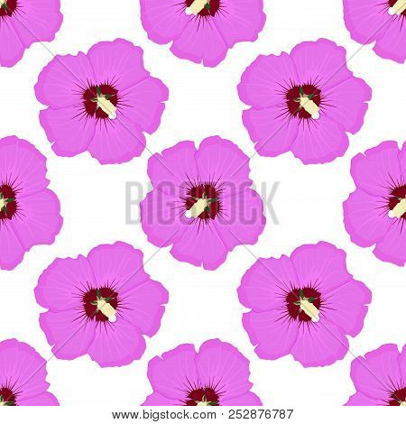 Hibiscus. Pink Floral Seamless Pattern. Vector Illustration
