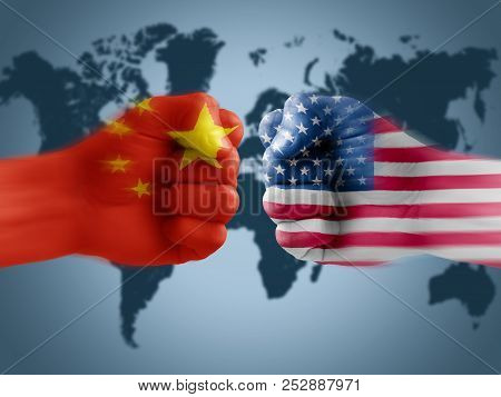 Us - China Trade War, Boxing Flag Fists