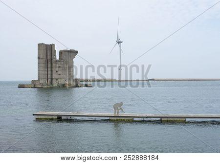 Sealand, Netherlands - 11 June 2018: The Pillar Reserve Pillar Delta Works Netherlands Sealand Midde