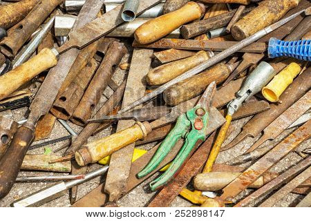 Disorderly Scattered Various Hand Work Tools, Files And Rasps, Hand Tool Texture Background