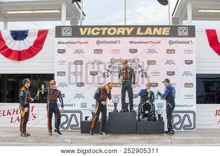 August 04, 2018 - Elkhart Lake, WI, USA: The Continental Tire Sportscar Challenge series celebrate podium for The Road America 120 at Road America in Elkhart Lake, WI.