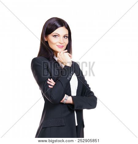 Confident business woman isolated on white. Attractive businesswoman.