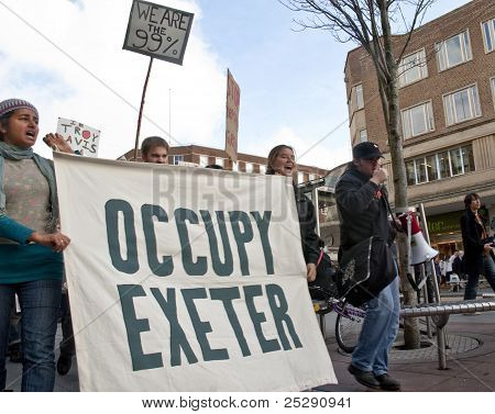 Occupy Exeter supporters and participants march through Exeter City Centre