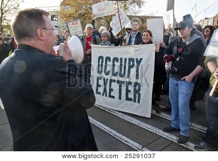 Acting Dean Of Exeter Cathedral, Carl Turner, Address The Occupy Exeter Supporters And Participants