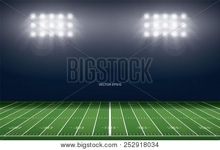 American Football Field Stadium Background. With Perspective Line Pattern Of American Football Field