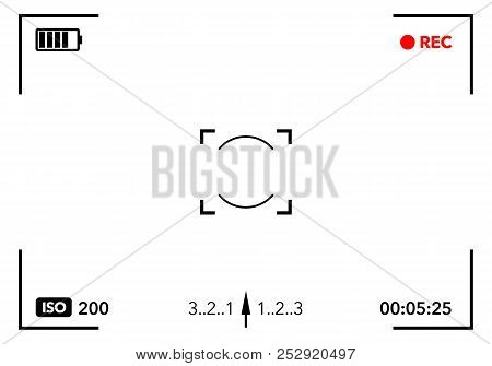 Vector Illustration Camera Viewfinder With Digital Focus And Exposure Camera Settings. Screen Photog