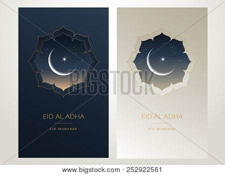 Eid Al Adha Mubarak Gold Greeting Card Vector Design - Islamic Beautiful Background With Moon And Go