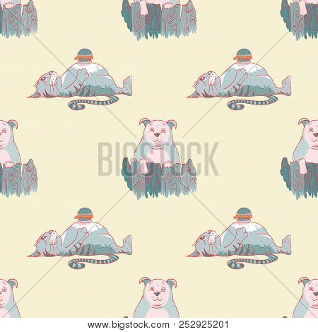 Fat Cat, Fat Dog And Hamburger Seamless Pattern, Cartoon Characters Quirky Background.
