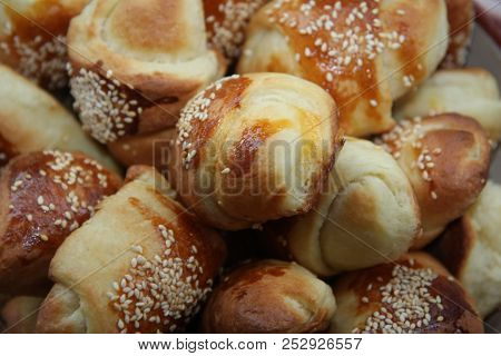 Makro Of Delightful Rolls With Cheese And Ham