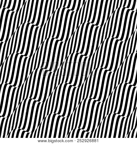 3d Wavy Background. Dynamic Effect. Black And White Design. Pattern With Optical Illusion. Vector Il