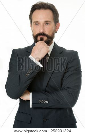 Hard Decision. Businessman Classic Formal Clothing Touching Chin While Making Decision. Business Beh