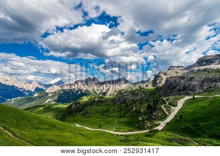 Dolomites Mountains, North Italy. Scenic View In Dolomiti, Alto Adige, South Tirol