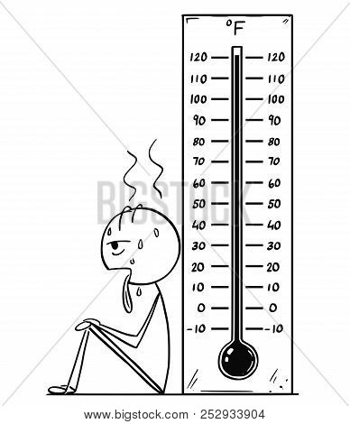 Cartoon Stick Drawing Conceptual Illustration Of Exhausted And Overheated Man Sitting Near Big Fahre