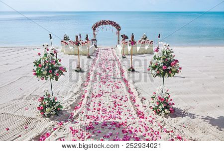 Beach Wedding Venue Setting On The White Sand With Beautiful Panoramic Ocean View Background, Pink A
