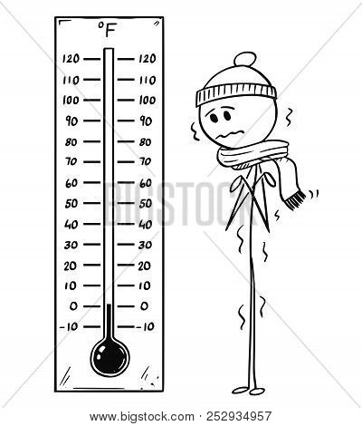 Cartoon Stick Drawing Conceptual Illustration Of Chilled Man Looking At Big Fahrenheit Thermometer S