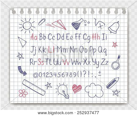 Alphabet In Sketchy Style With School Doodles On Copybook Sheet. Vector Handwritten Pencil Letters,