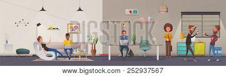 Office Interior. Modern Apartment, Scandinavian Or Loft Design. Cartoon Vector Illustration. Creativ