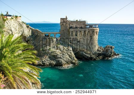 Medieval Tower On The Coast Of Maiori Town With Ocean View, Amalfi Coast, Campania Region, Italy