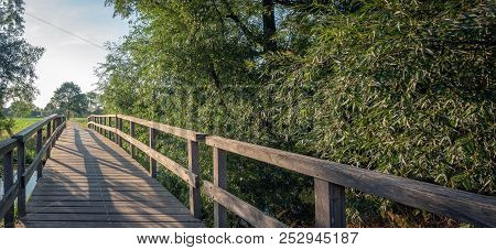 Simple Wooden Footbridge Over A Stream Next To Some Willow Trees. It Is A Sunny Evening In The Dutch