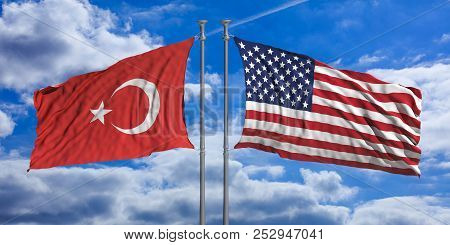 American And Turkish Waving Opposite Flags On Blue Sky Background. 3D Illustration
